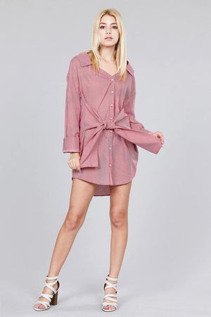 Material:100% Cotton Sleeve Length: Long Pattern: Striped Details: Sleeves w/wide cuff, self-tie waist Fit Type: Loose Striped Shirt Dress, Red/Off white color