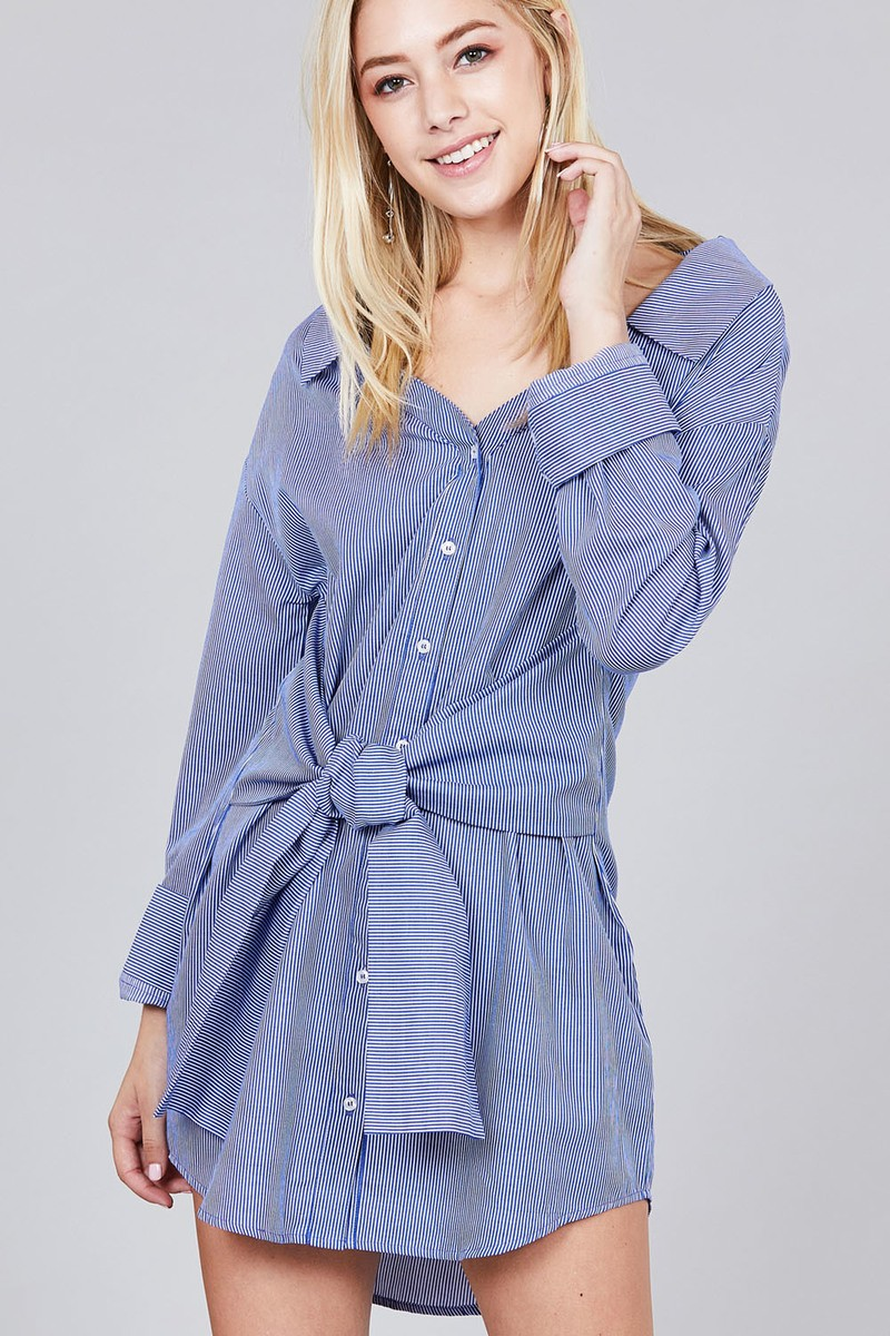 Material:100% Cotton Sleeve Length: Long Pattern: Striped Details: Sleeves w/wide cuff, self-tie waist Fit Type: Loose Striped Shirt Dress, Blue.Off white color