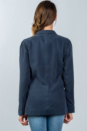 Comfortable Fit Blazer Material: 100% Tencel Sleeve Length: Long Closure Type: One front button closure Fit Type: Comfortable Details: Pleated shoulder detail, navy color