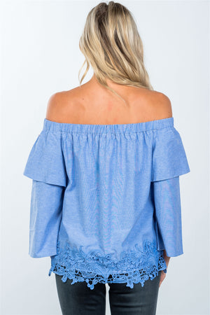 Material: 50% Polyester 50% Cotton Neckline: Off the shoulder neckline Sleeve Type: 3/4 layered bell sleeves Other Features: Elasticized neckline, relaxed fit, crochet hem, unlined, solid.   Blue Loose Off the Shoulder Top