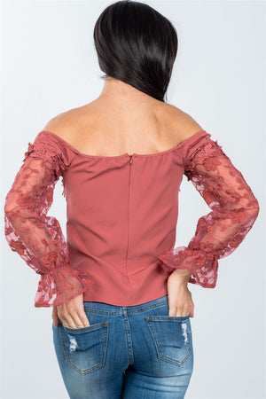 Off the Shoulder Floral Applique Top Material:97% Polyester 3% Spandex, Slightly sheer. Sleeve Length: Long Neckline: Off the shoulder, V-Wire neckline Closure Type: Back zipper and hook-and-eye closure Details: Floral textured sleeves, bell sleeves, mauve color