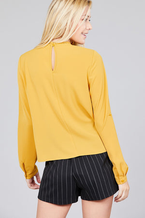 Material: 97% Polyester 3% Spandex Sleeve Length: Long Sleeve Type: 3/4 roll up sleeve Neckline: Crew neck w/ruffle Long Sleeve Casual Shirt, mustard color