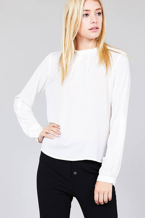Material: 97% Polyester 3% Spandex Sleeve Length: Long Sleeve Type: 3/4 roll up sleeve Neckline: Crew neck w/ruffle Long Sleeve Casual Shirt, off white color