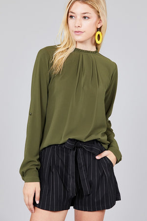 Material: 97% Polyester 3% Spandex Sleeve Length: Long Sleeve Type: 3/4 roll up sleeve Neckline: Crew neck w/ruffle Long Sleeve Casual Shirt, olive color