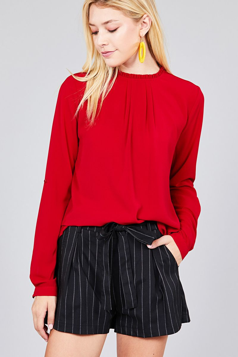 Material: 97% Polyester 3% Spandex Sleeve Length: Long Sleeve Type: 3/4 roll up sleeve Neckline: Crew neck w/ruffle Long Sleeve Casual Shirt, red color