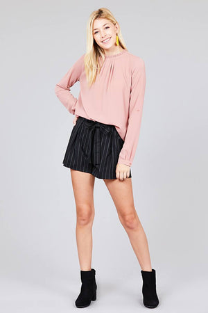 Material: 97% Polyester 3% Spandex Sleeve Length: Long Sleeve Type: 3/4 roll up sleeve Neckline: Crew neck w/ruffle Long Sleeve Casual Shirt, blush color