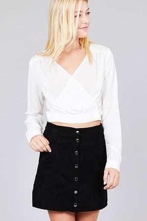 Material:97% Polyester 3% Spandex Sleeve Length: Long Closure Type: Surplice wrap  Details: Side bow tie Fit Type: Regular Surplice Wrap Cute Top, off white color