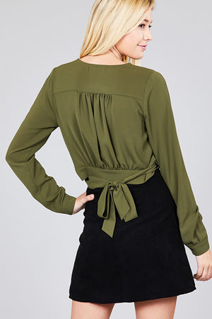 Material:97% Polyester 3% Spandex Sleeve Length: Long Closure Type: Surplice wrap  Details: Side bow tie Fit Type: Regular Surplice Wrap Cute Top, olive color