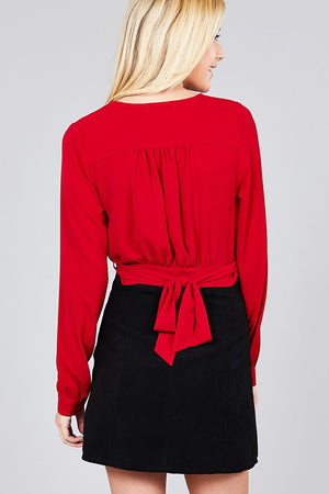 Material:97% Polyester 3% Spandex Sleeve Length: Long Closure Type: Surplice wrap  Details: Side bow tie Fit Type: Regular Surplice Wrap Cute Top, red color