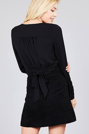 Material:97% Polyester 3% Spandex Sleeve Length: Long Closure Type: Surplice wrap  Details: Side bow tie Fit Type: Regular Surplice Wrap Cute Top, black color