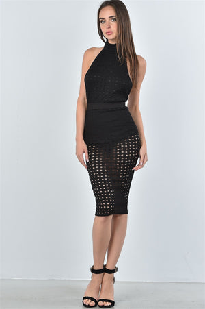 Material: 68% Cotton 30% Nylon 2% Spandex Bodysuit features: High neckline, mesh hole pattern, hook-and-eye bottom closure, sleeveless, open back. Skirt: high waisted, elastic waistband, mesh hole pattern allover, midi length. Mesh Hole bodysuit and Midi Skirt , black color
