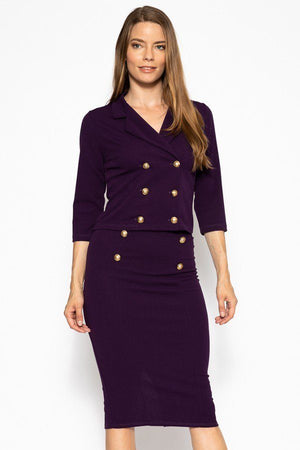 Classic Skirt Suit Set  Material: 95% Polyester 5% Spandex Top: Double breasted 3/4 sleeve blazer Bottom: Slim pencil skirt Details: Brushed gold buttons, eggplant color