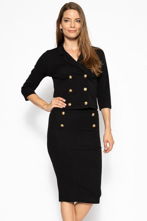 Classic Skirt Suit Set  Material: 95% Polyester 5% Spandex Top: Double breasted 3/4 sleeve blazer Bottom: Slim pencil skirt Details: Brushed gold buttons, black color