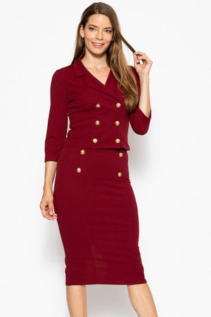 Classic Skirt Suit Set  Material: 95% Polyester 5% Spandex Top: Double breasted 3/4 sleeve blazer Bottom: Slim pencil skirt Details: Brushed gold buttons, wine color