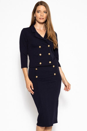 Classic Skirt Suit Set  Material: 95% Polyester 5% Spandex Top: Double breasted 3/4 sleeve blazer Bottom: Slim pencil skirt Details: Brushed gold buttons, navy color