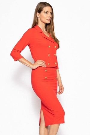 Classic Skirt Suit Set  Material: 95% Polyester 5% Spandex Top: Double breasted 3/4 sleeve blazer Bottom: Slim pencil skirt Details: Brushed gold buttons, bright red color