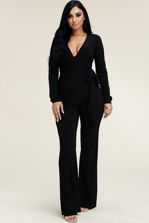 Elegant Jumpsuit With Tie Waist  Material: 96% Polyester 4% Spandex  Sleeve Length: Long Details: with tie waist, wide leg, black color
