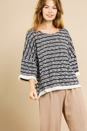 Knit Bell Sleeve Top  Material: Cotton Blend Pattern: Heathered Striped Sleeves:  Bell Sleeve  Neckline: Round Neck Details: High Low Side Slit Hem, black color