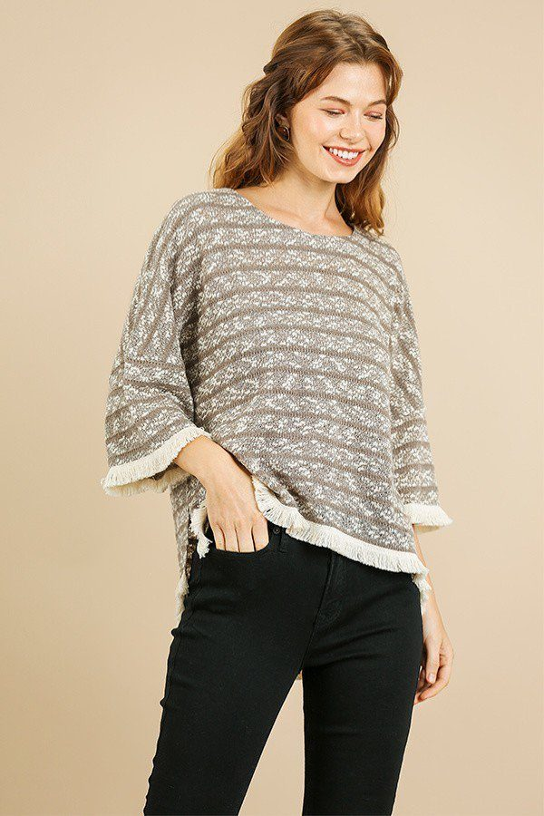 Knit Bell Sleeve Top  Material: Cotton Blend Pattern: Heathered Striped Sleeves:  Bell Sleeve  Neckline: Round Neck Details: High Low Side Slit Hem, latte color