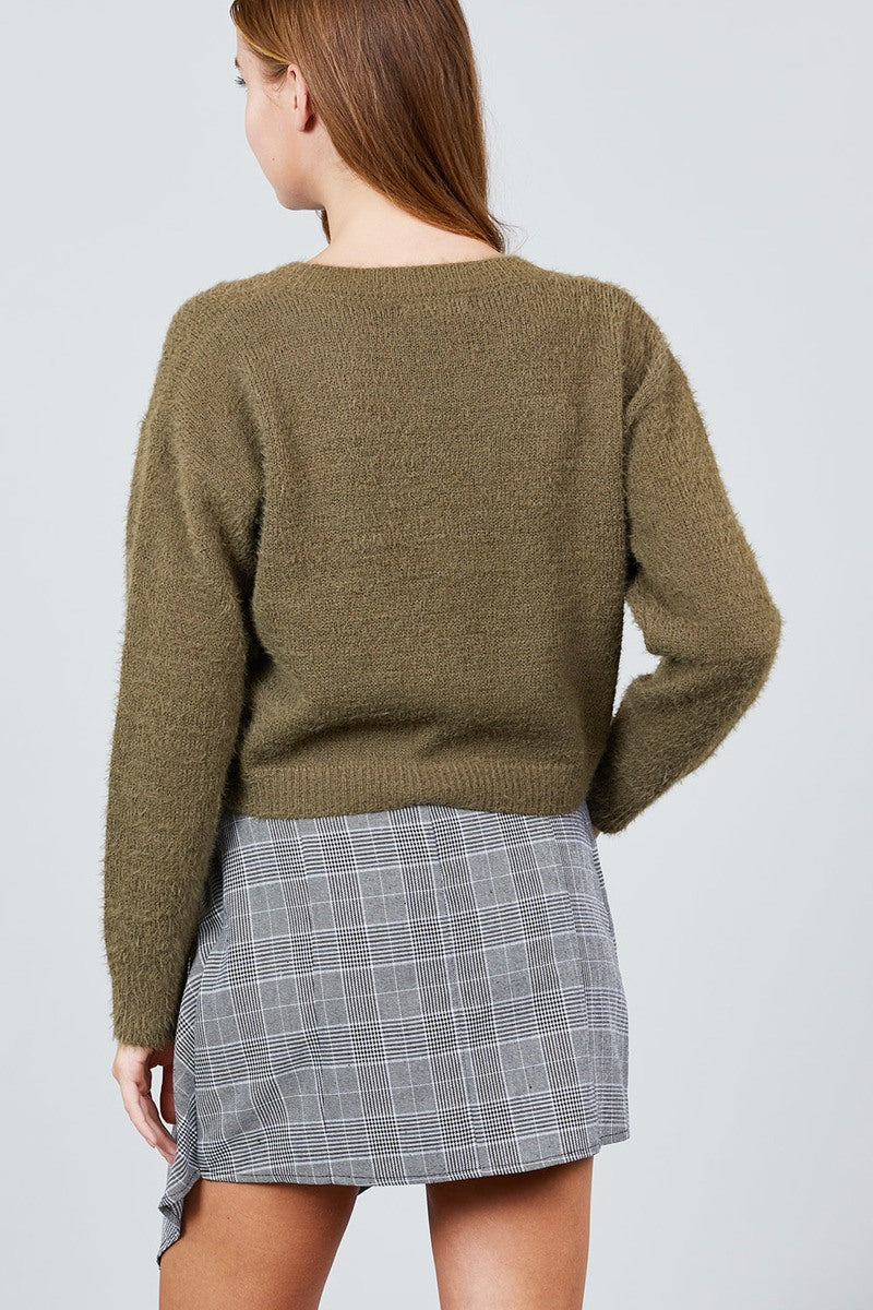 Cozy Crop Sweater  Material: 50% Acrylic 50% Nylon Sleeve Length: Long Neckline: Round Neck Type: Crop Sweater, olive color
