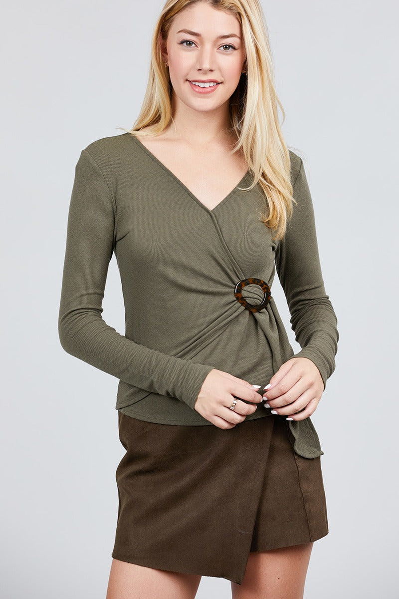 Rib Knit Top Material: 65% Cotton 30% Polyester 5% Spandex Sleeve Length: Long Collar: Deep V-neck Details: Side Buckle Detail, olive color