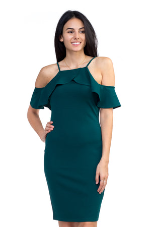 Ruffle Open Shoulder Dress