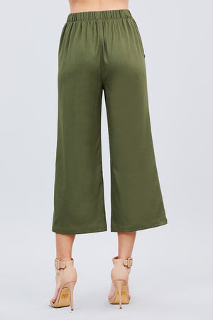 Pocket Detail Wide Linen Pants