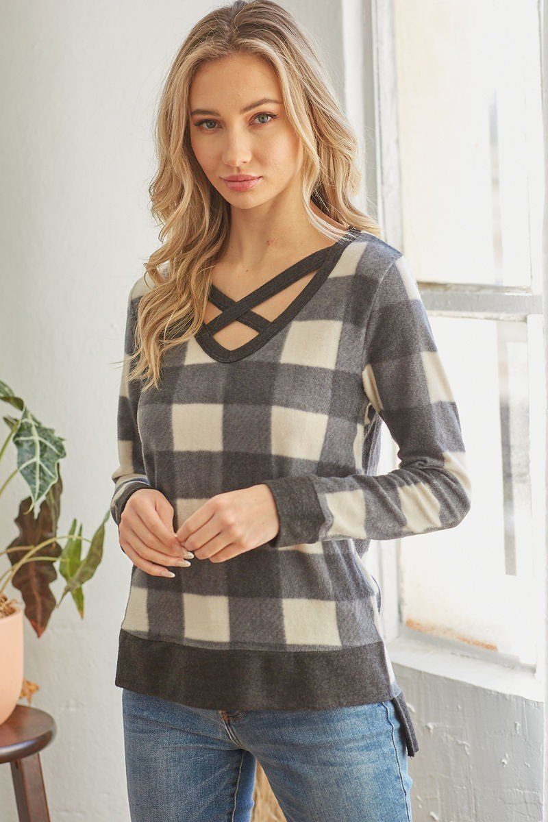 Plaid V-Neck Top