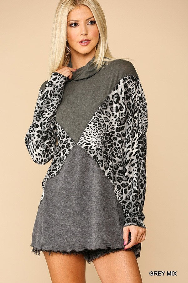 Solid And Animal Print Turtleneck Top