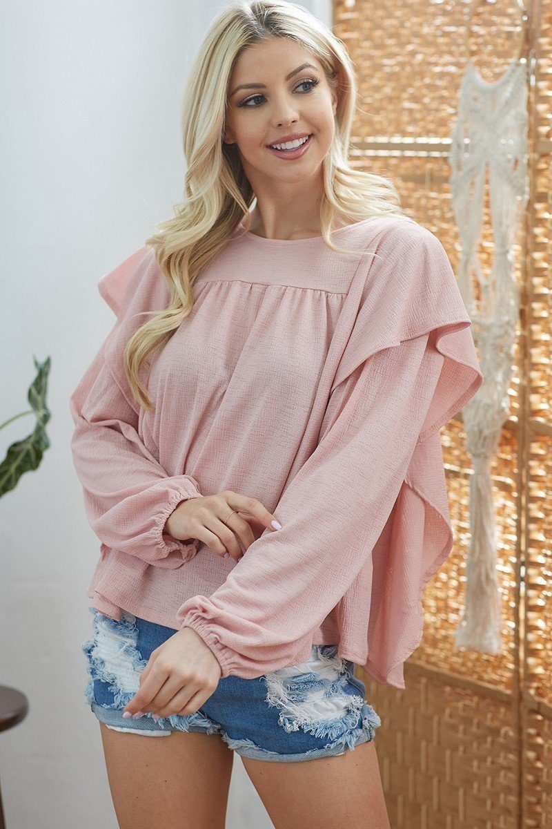 Draped Ruffle Top