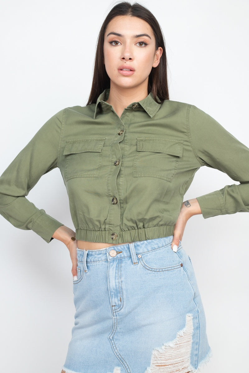 Short Elastic Waist Top