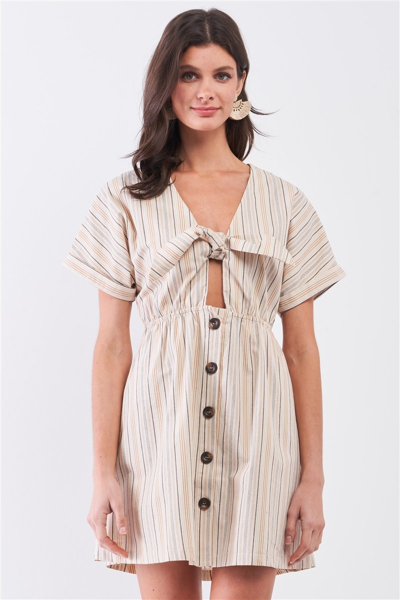 Striped Front Self Tie Dress