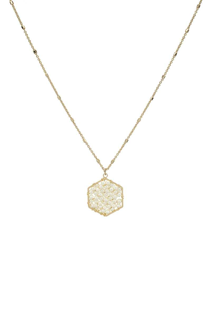 Pearl Hexagon Pendant Necklace