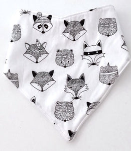 Tribal animal bandana bib - white