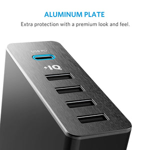 Anker A2053 60W PowerPort+ 5 Port USB With USB-C Power Delivery Desktop Charger - Anker Malaysia Official Store