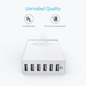 A2123 PowerPort 6 60W 6-Port USB Desktop Charger