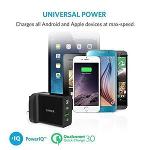 A20132 PowerPort+ Qualcomm Quick Charge 3.0 18W USB Wall Charger (Black/White) - Anker Malaysia Official Store