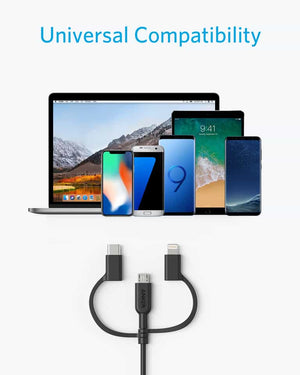 A8436 PowerLine ll 3 in 1 USB-A to USB-C Micro USB Lightning Charging Cable