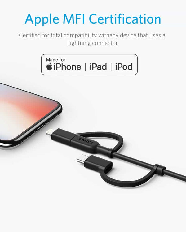 Anker A8436 Powerline Ll 3 In 1 Usb A To Usb C Micro Usb