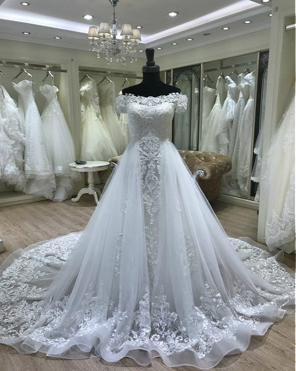 Detachable Train Wedding Dress