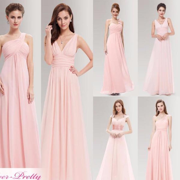 Peachy Pink Long Bridesmaid Dresses
