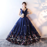 Printed Floral Satin Floor-Length Mother Of The Bride Dresses Plus Size V-neck