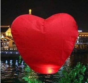 5pcs/lot Red Heart Shaped Chinese Lantern & Flying Lanterns & Lanterns Weddings