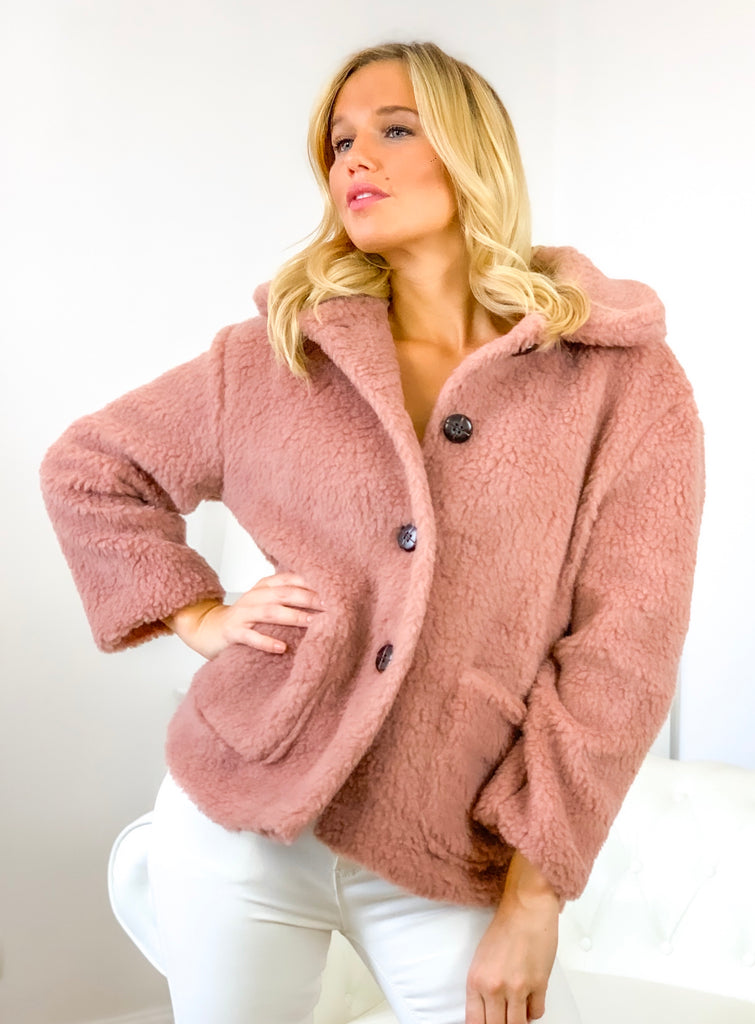 Manteau BEAR court rose