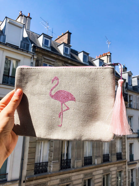 Pochette XL tressée FLAMAND ROSE