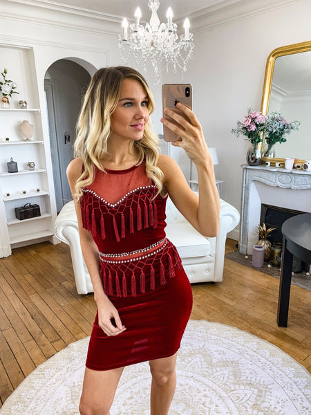 MARGAUX COLLECTION Robe rouge en velour et franges