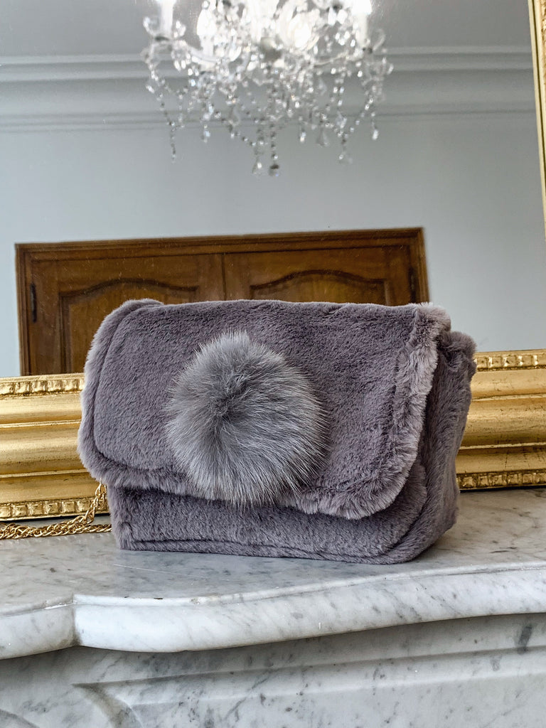 MARGAUX COLLECTION Sac GRIS à pompon vegan