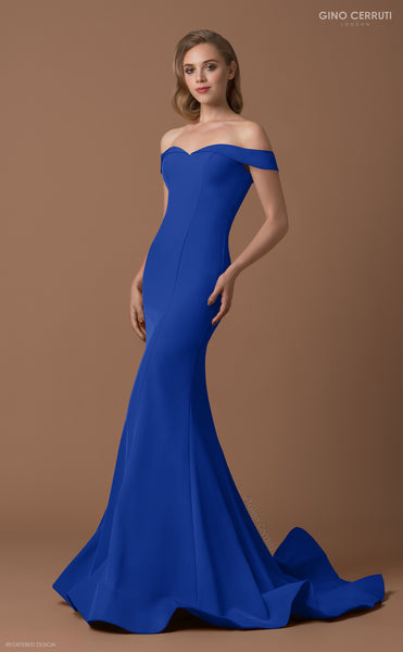 Gino Cerruti 1539 Off The Shoulder Dress Blue