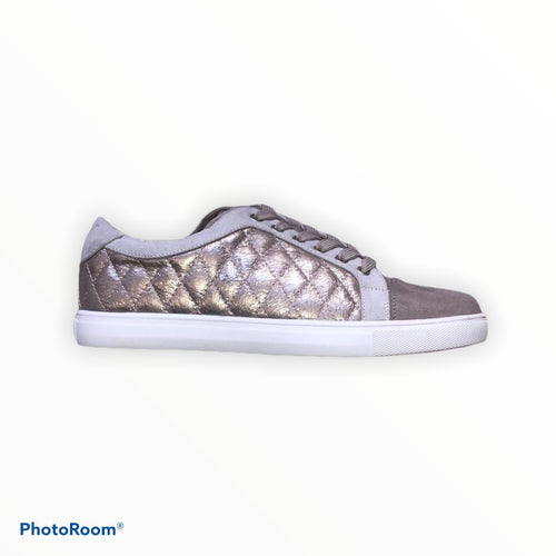 Vanessa Wu Pleated Rose Gold Trainer
