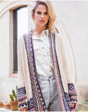 Cream Aztec Long Cardigan